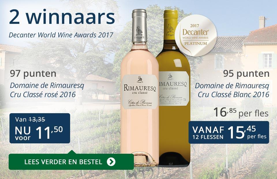 Twee winnaars Decanter World Wine Awards - blauw