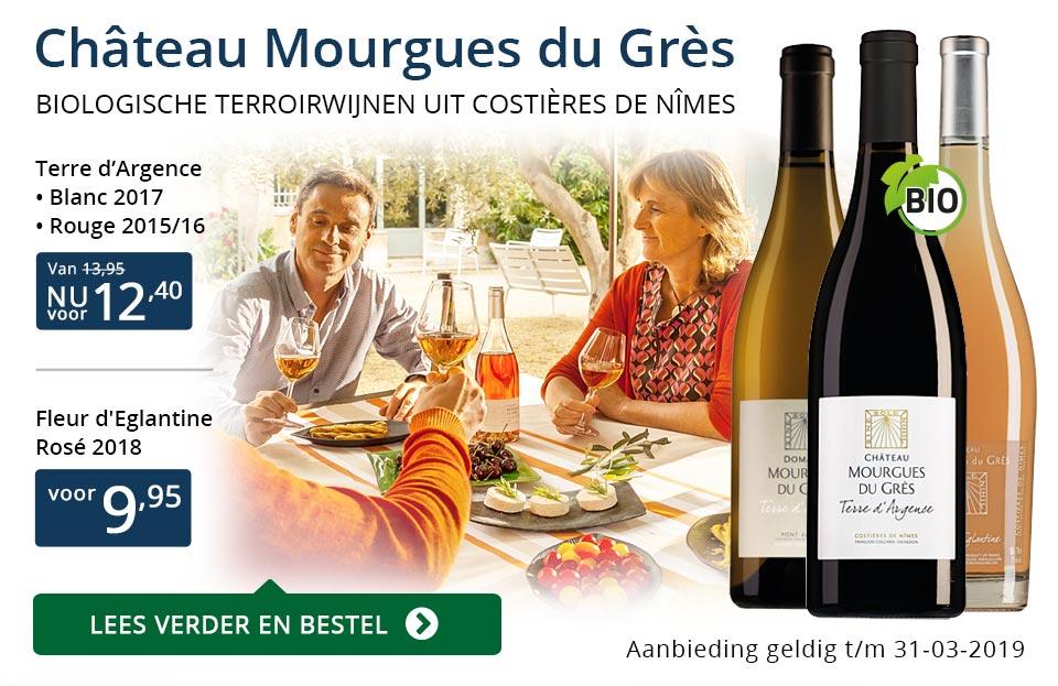 Château Mourgues du Grès wijnen in Perswijn - blauw