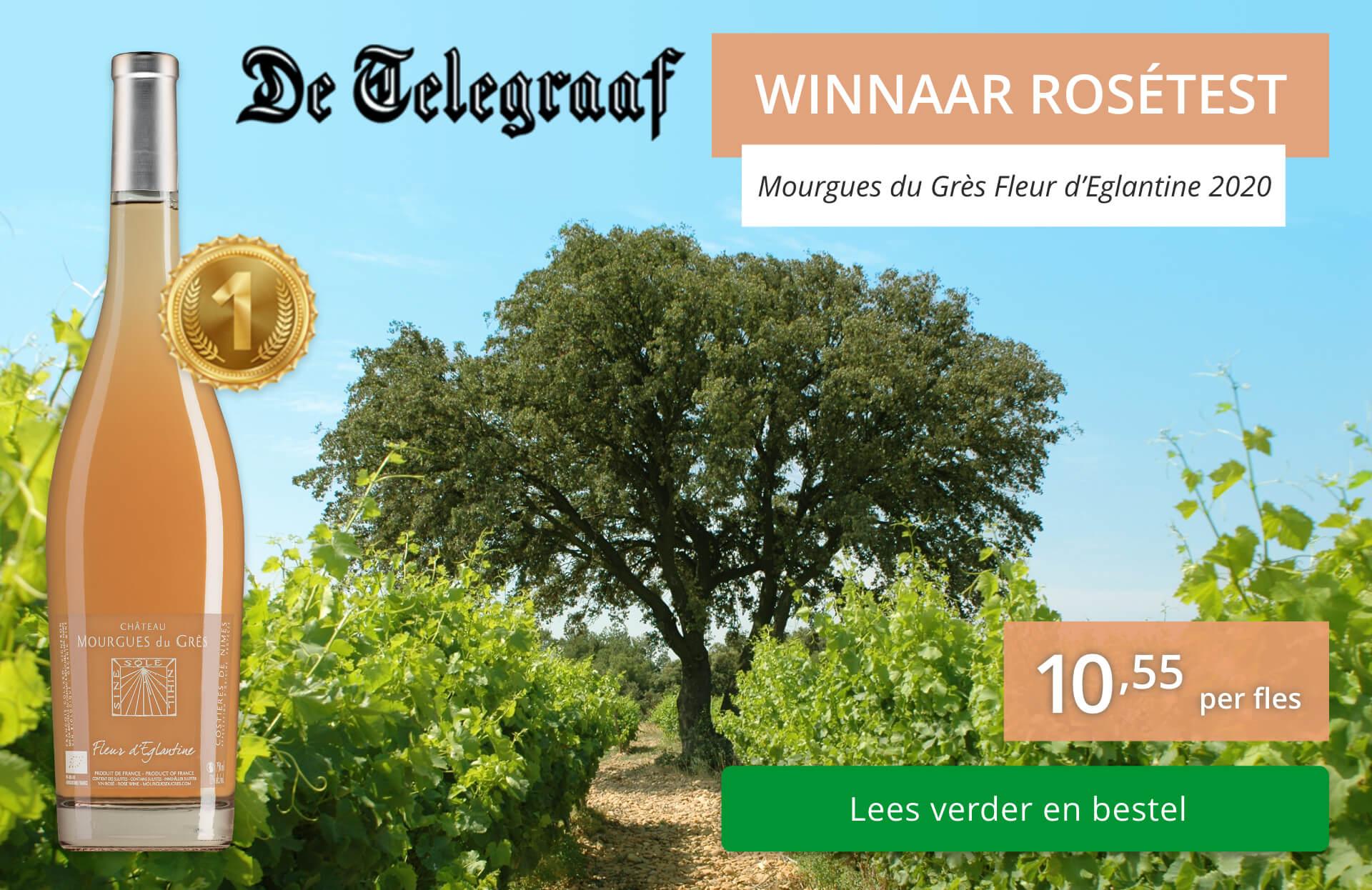 Nummer 1 in rosé test van de Telegraaf - Mourgues du Grès Fleur d'Eglantine